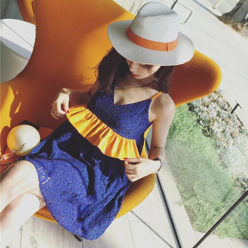 PS Mall 韓版荷葉邊拼接V領吊帶蕾絲無袖高腰連身裙 洋裝【T2034】
