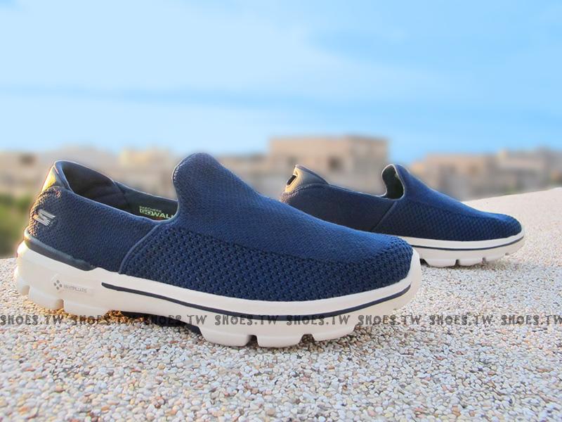 Shoestw【54057NVY】SKECHERS 健走鞋 Gowalk3 透氣網布 海軍藍 深藍 男款