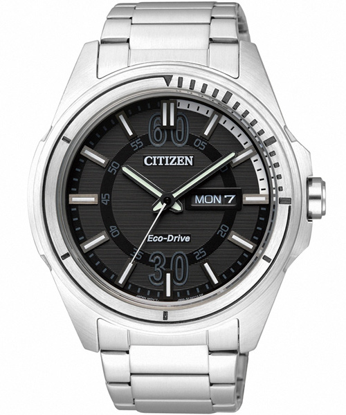 CITIZEN星辰AW0030-55E年輕雅痞光動能腕錶/黑面43mm