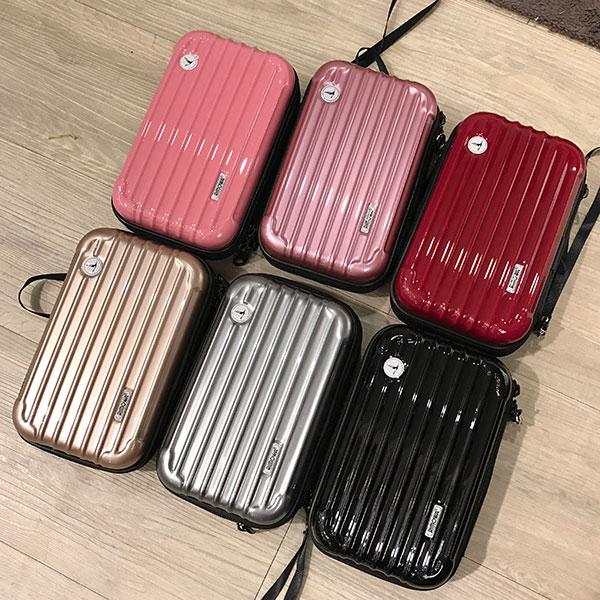 行李箱 硬殼 化妝包 手拿包 收納 小包 手機包 R牌 iPhone 7 plus 玫瑰金 多功能過夜包 聖誕交換禮物