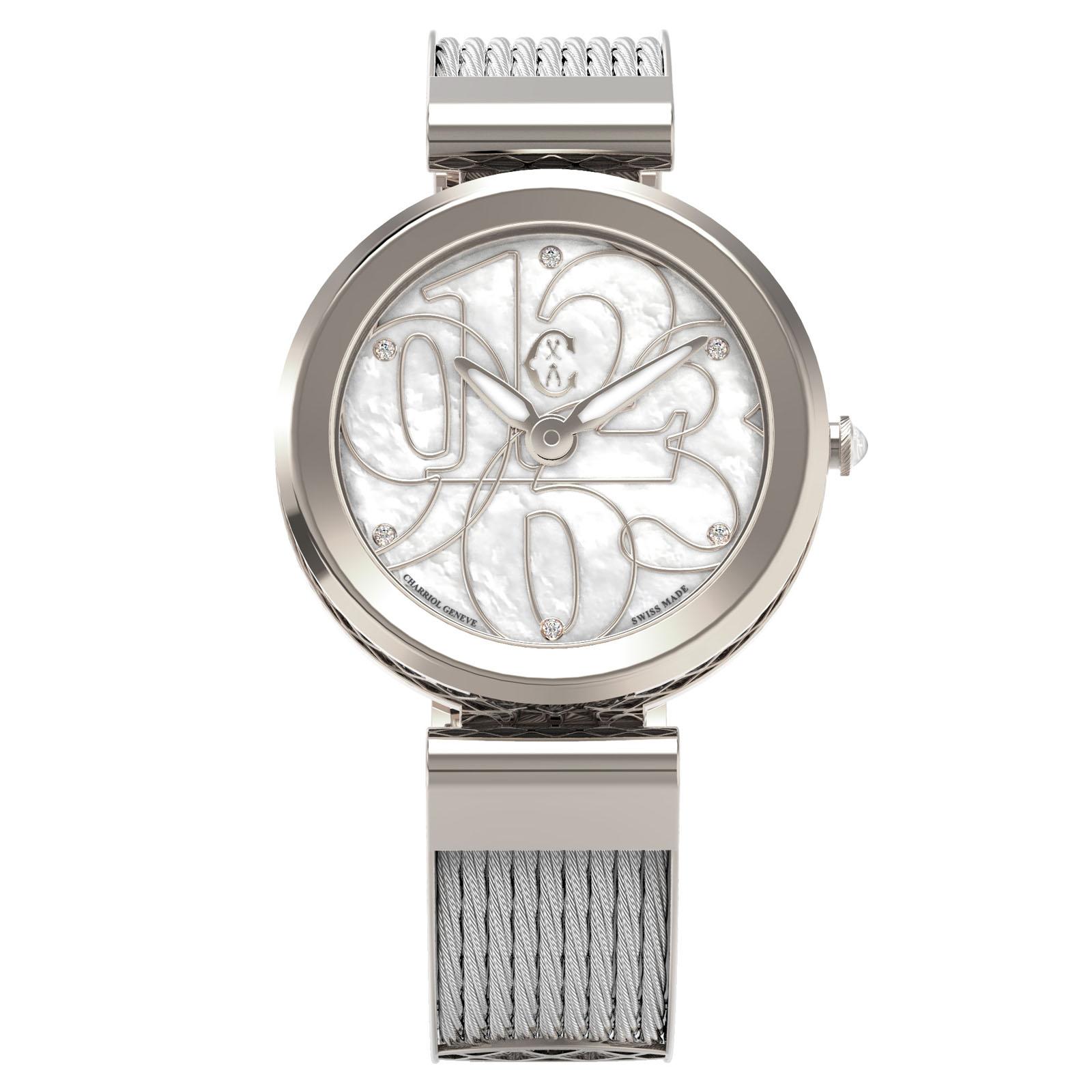 CHARRIOL夏利豪(FE32.101.001)Forever系列半鋼索數字時尚腕錶/珍珠母貝面32mm