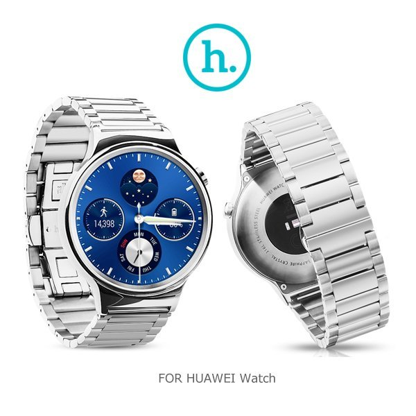 (銀色)HOCO HUAWEI Watch 格朗錶帶三珠款/不鏽鋼/防指紋/精緻/時尚/蝴蝶扣設計/耐磨【馬尼行動通訊】