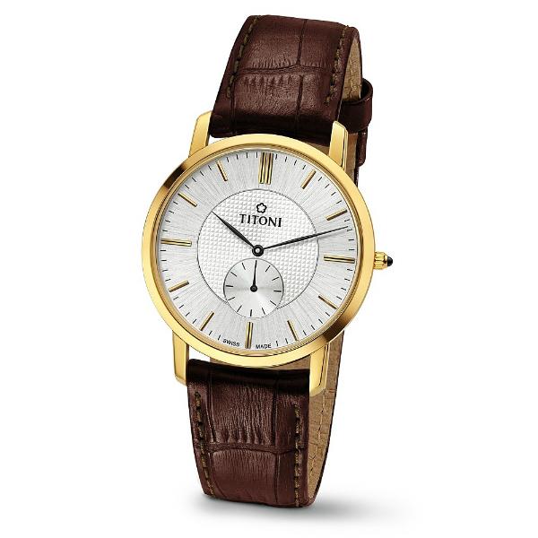 TITONI瑞士梅花錶TQ52917G-ST-380 Slenderline系列紳士纖薄時尚腕錶/白面38mm