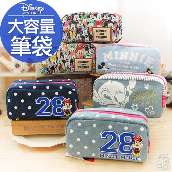 日光城。迪士尼大容量拉鍊筆袋,化妝包牛仔布包帆布包鉛筆盒口紅包收納包3C收納包行動電源包丹寧布包奇奇史迪奇迪士尼