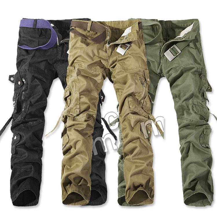 Mao  最新款日韓新品軍裝風格款純色多口袋工裝長褲