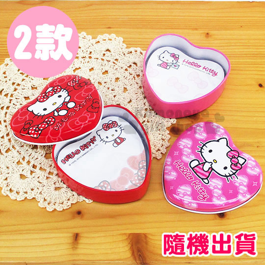 〔小禮堂〕Hello Kitty 附盒造型便條紙《2款.隨機出貨.紅/粉.心型》