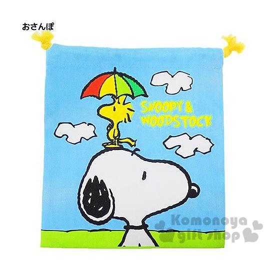 〔小禮堂〕史努比 棉質束口袋《藍.撐傘.雲.糊塗塔克》