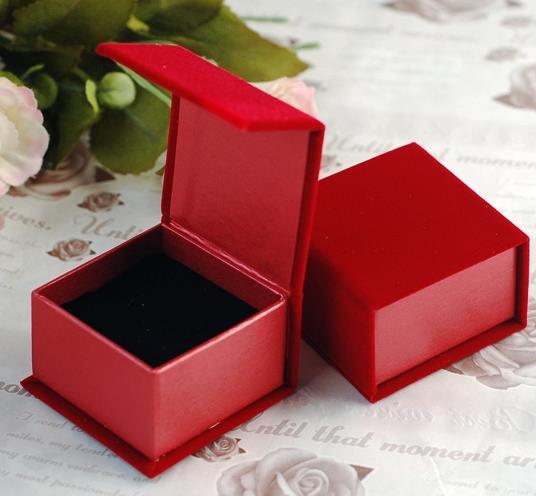 高級絨布磁鐵戒指盒批發(單個)可放耳釘 袖釦 戒指