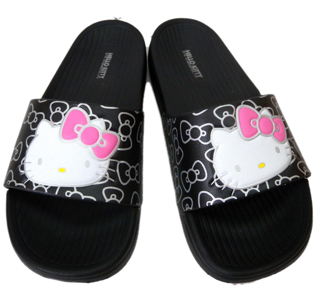 【真愛日本】厚底拖鞋915056-黑36-40 三麗鷗 Hello Kitty 凱蒂貓 拖鞋 鞋子 室內拖 室外拖