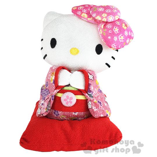 〔小禮堂〕Hello Kitty 造型絨毛玩偶娃娃《S.站姿.粉和服.紅枕頭上》