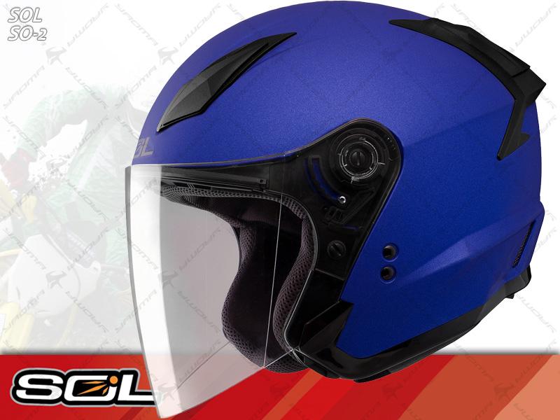 SOL安全帽 SO-2 / SO2 消光藍【簡約輕化.可加下巴】 半罩帽 『耀瑪騎士生活機車部品』
