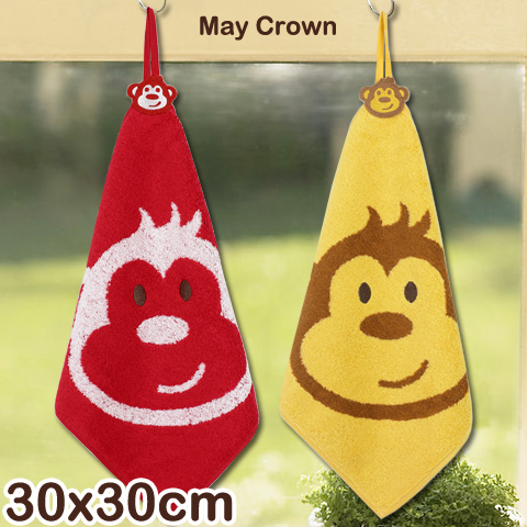 【esoxshop】高級精梳紗 純棉方巾 猴子款 擦手巾 May Crown