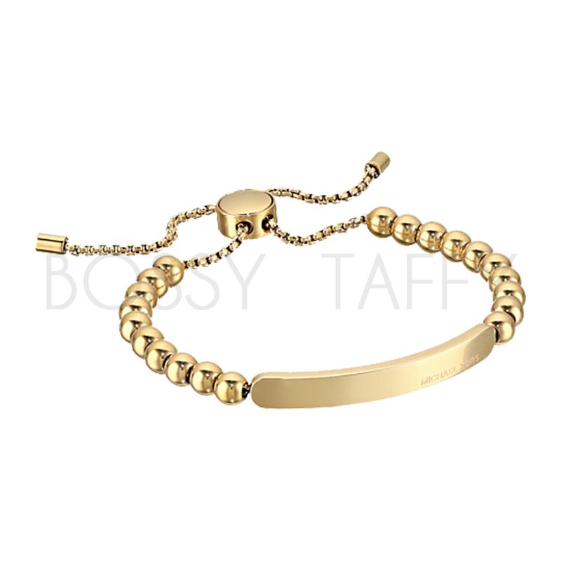 MICHAEL KORS 時尚金串珠可調式金屬板手鍊 Gold Beaded Logo Plate Slider Bracelet RoseGold