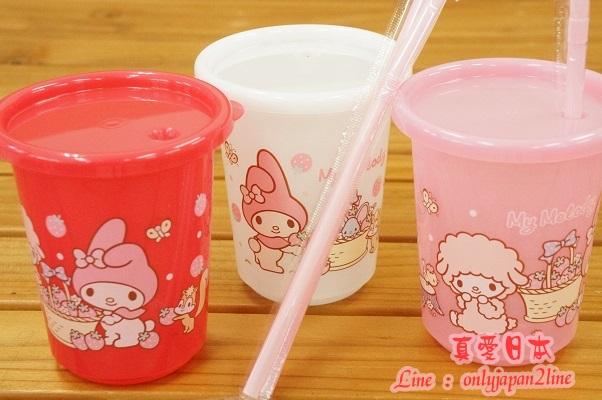 【真愛日本】16090900019日本製環保杯附吸管-MD綿羊粉    三麗鷗家族 Melody 美樂蒂   吸管杯 餐具