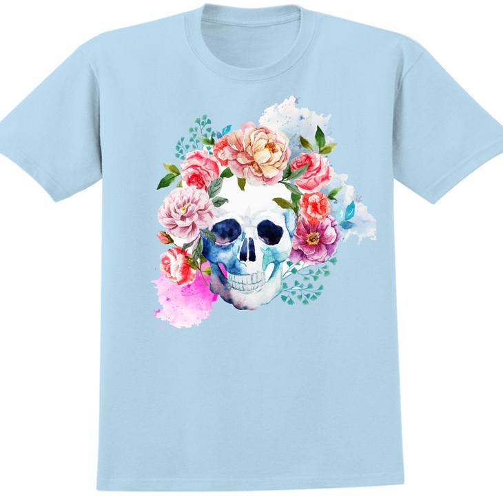 新創設計師- T恤:【花骷髏】修身短袖 T-shirt ( 水藍 ) 850 Collections