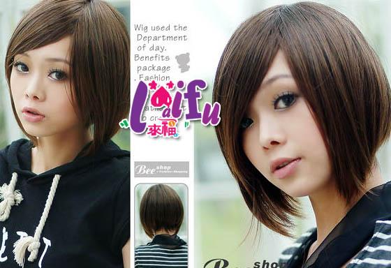 ★草魚妹★W66假髮前斜長後短髮假髮,整頂售價350元