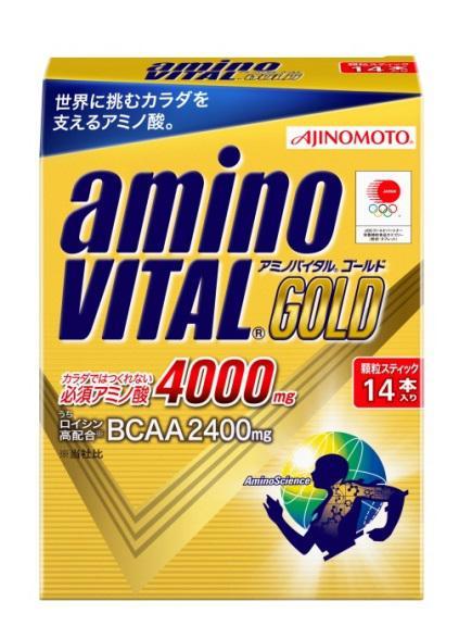【橘町五丁目】[公司貨]限量促銷! BCAA 全新到貨! 日本大廠AJINOMOTO生產 日本亞奧運代表隊使用 ajinomoto amino VITAL GOLD黃金級4000mg 胺基酸粉末 (4.7g*14包)-免運!