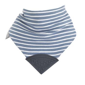 英國Cheeky Chompers咬咬兜 圍兜 口水巾 三角領巾 固齒器-【Preppy Stripes 英倫學院 藍條紋】