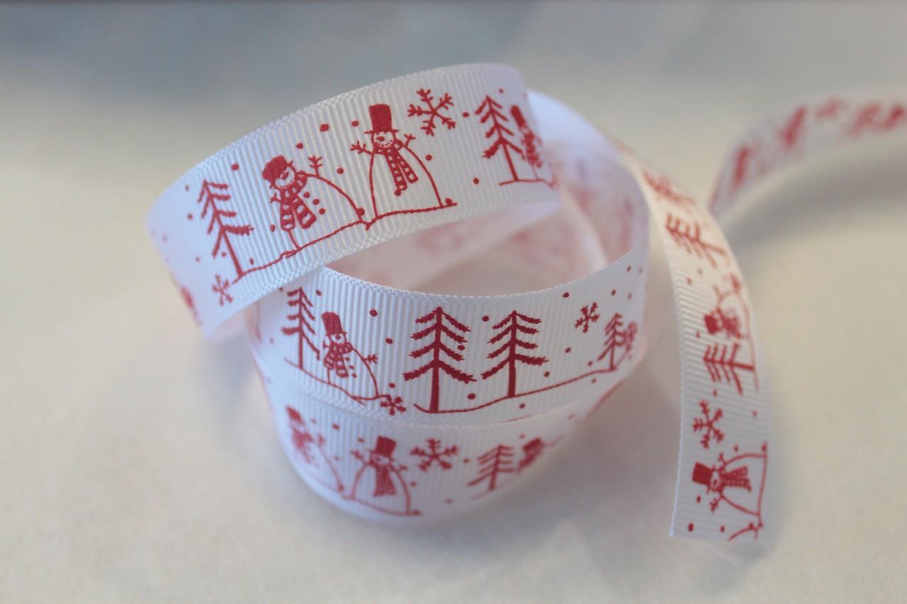 羅紋緞帶-雪人歡慶聖誕 22mm 3碼裝 (4色)