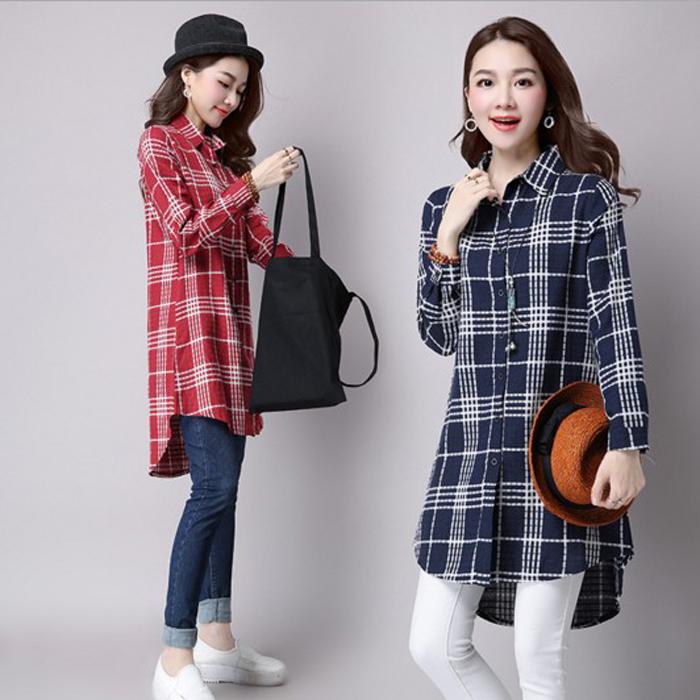 糖衣子流行館【GF1685】韓版時尚休閒格子棉麻顯瘦修身長版襯衫(預購款10天)