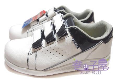 【巷子屋】Simon 男/女款超輕量魔鬼氈塑鋼頭運動休閒鞋 JSAA認定品 [NS18] 白 超值價$590