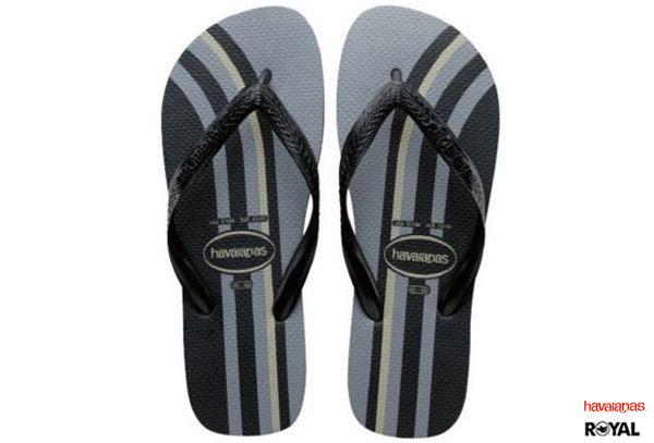 Havaianas 哈瓦士 新竹皇家 Top Basic 黑灰 直線條 拖鞋 男款 NO.H1360