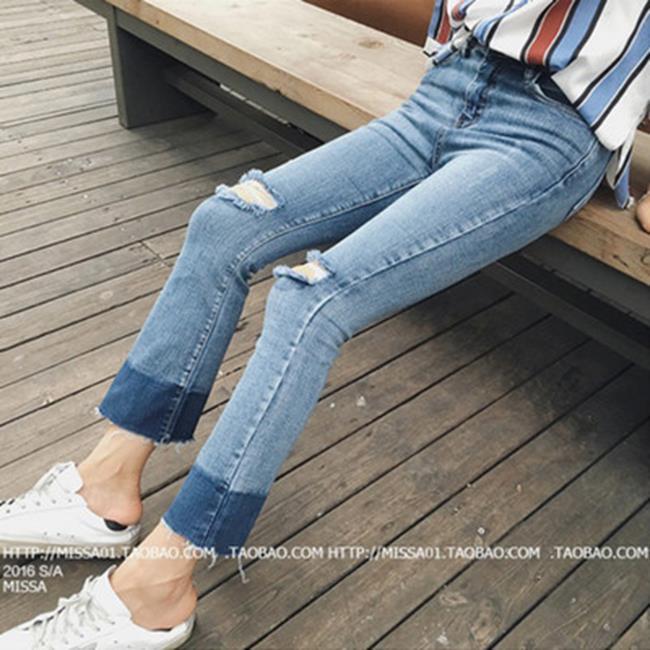 50%OFF【G017341P】2016秋裝新款女裝韓版喇叭褲毛邊漸變破洞修身牛仔褲九分褲