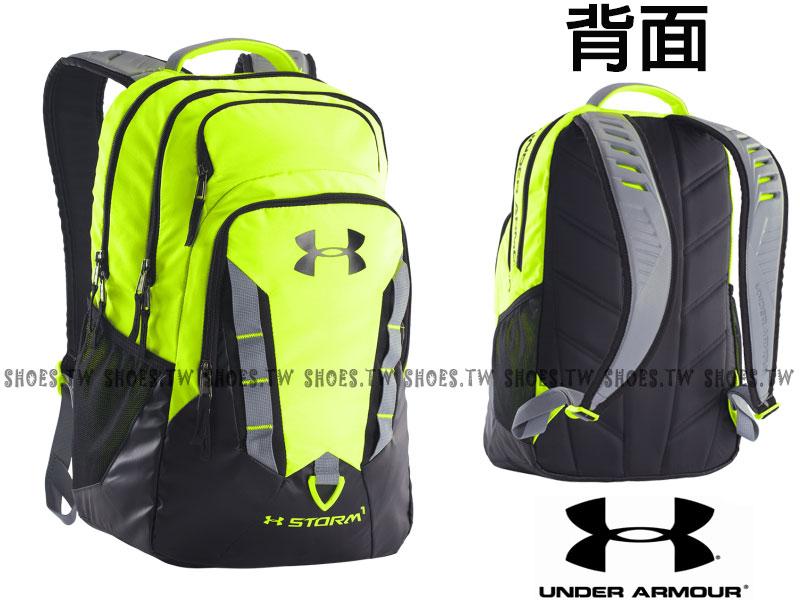 Shoestw【1261825-731】UA 運動後背包 防潑水 兩夾層 IPAD夾層 螢光綠