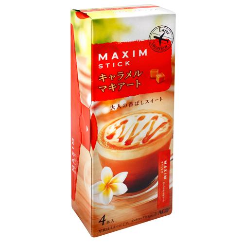 有樂町進口食品 【AGF】Maxim三合一焦糖瑪奇朵咖啡(14gx4本入) 4901111268494