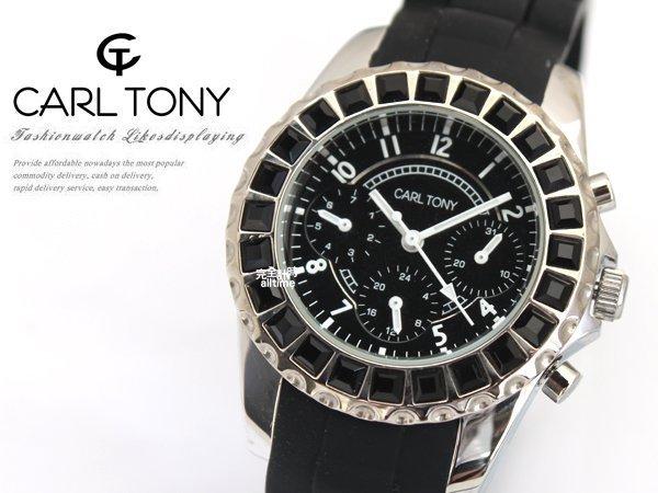 【完全計時】手錶館│CARL TONY 晶鑽魅惑腕錶 防水矽膠錶帶系列 三眼計時款CT3015OS-1 42mm l