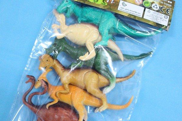 恐龍公仔 仿真恐龍模型 侏羅紀恐龍玩具(軟質實心6隻入混款)/一袋入{促100}~文