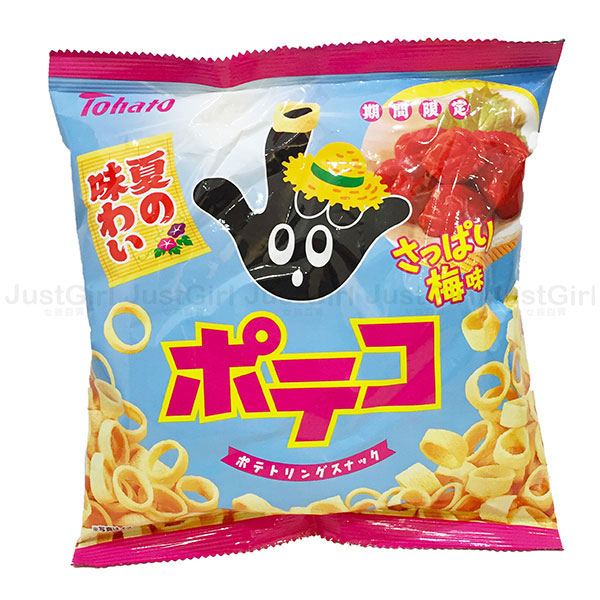 東鳩Tohato 手指圈圈餅 手指餅乾 梅子味 夏季期間限定 日本製造進口 * JustGirl *