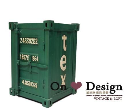 On ♥ Design ❀ LOFT 工業家具 RH風格 貨櫃 集裝箱收納櫃 邊櫃 床頭櫃MINI版-綠