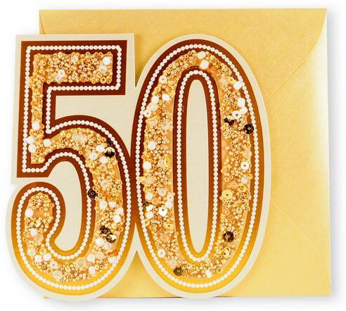 剪刀石頭紙 【Signature經典手工系列 週年卡】50週年金婚快樂