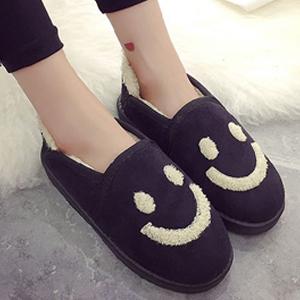 雪靴-韓國甜心絨毛微笑懶人低筒雪靴 短靴 踝靴 懶人鞋【AN SHOP】