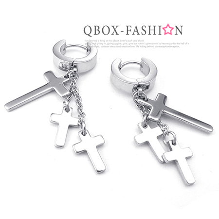 《QBOX 》FASHION 飾品【W10024765】精緻個性三吊墬十字架316L鈦鋼針式耳環(銀)