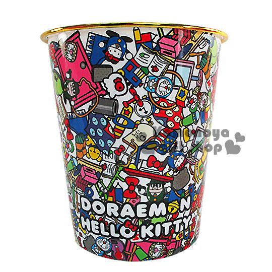 〔小禮堂〕Hello KittyX哆啦A夢 圓形垃圾桶《白.道具滿版》美觀居家