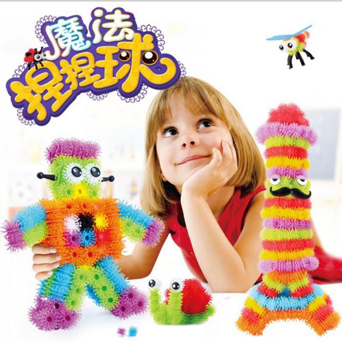 tangyizi輕鬆購【DS025】美國Bunchems兒童益智拼裝啟蒙玩具蓬蓬球捏捏球積木玩具創意DIY(預購款10天)