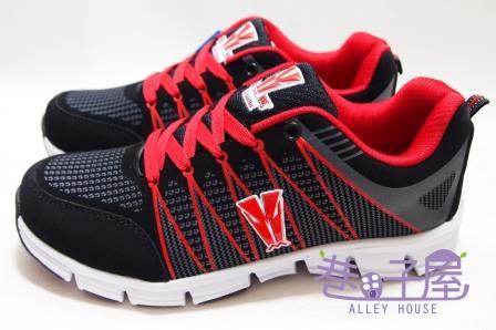 【巷子屋】Hanama悍馬 男款配色超輕量寬楦慢跑運動鞋 [3108] 黑紅 超值價$498