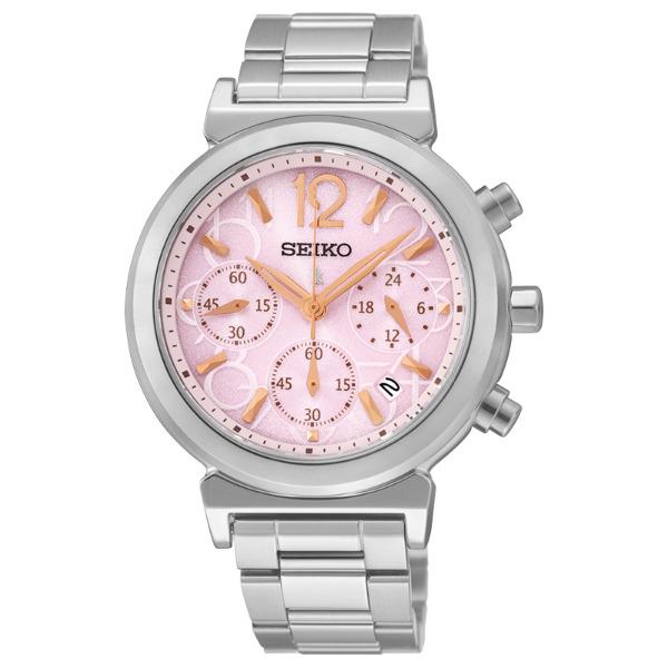Seiko Lukia V175-0AJ0O(SSC887J1)粉麗佳人太陽能計時腕錶/白面35mm