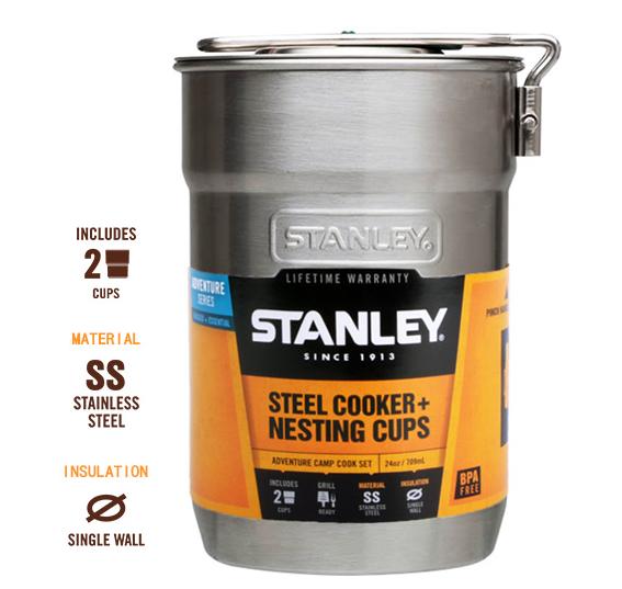 ├登山樂┤ 美國 Stanley 冒險系列露營套鍋組 0.7L 不鏽鋼原色(內含2綠塑杯) #10-01290-008