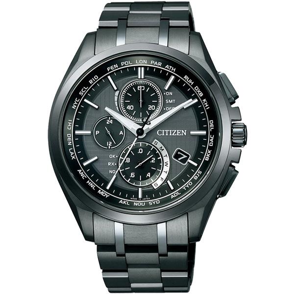 CITIZEN星辰AT8044-56E旗艦多功電波光動能鈦金屬腕錶/黑面43mm