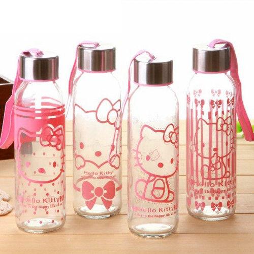 凱蒂貓KITTY貓 玻璃隨行杯 隨手杯 玻璃杯 隨手瓶 300ml 【庫奇小舖】