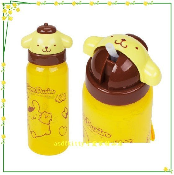 asdfkitty可愛家☆布丁狗大臉造型吸管水壺500ML-可當學習杯-幼兒園好用歐-日本正版商品