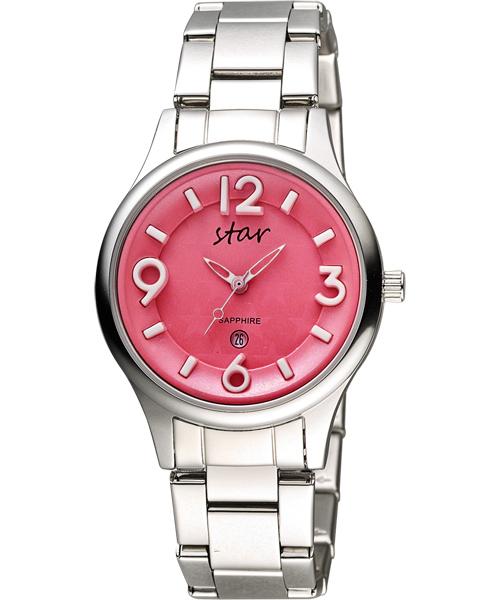 STAR時代錶 9T1601-161S-R 俏糖繽紛腕錶/桃紅面35mm