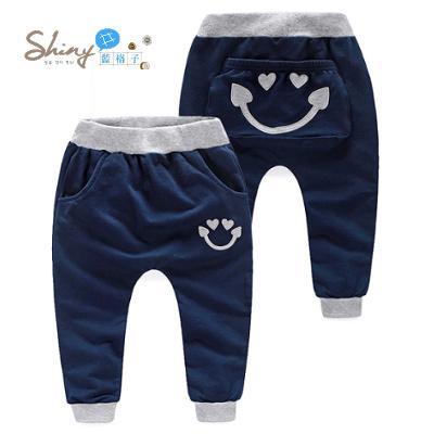 【R0607】shiny藍格子-嬰幼館.秋裝新款男女童可愛笑臉長褲