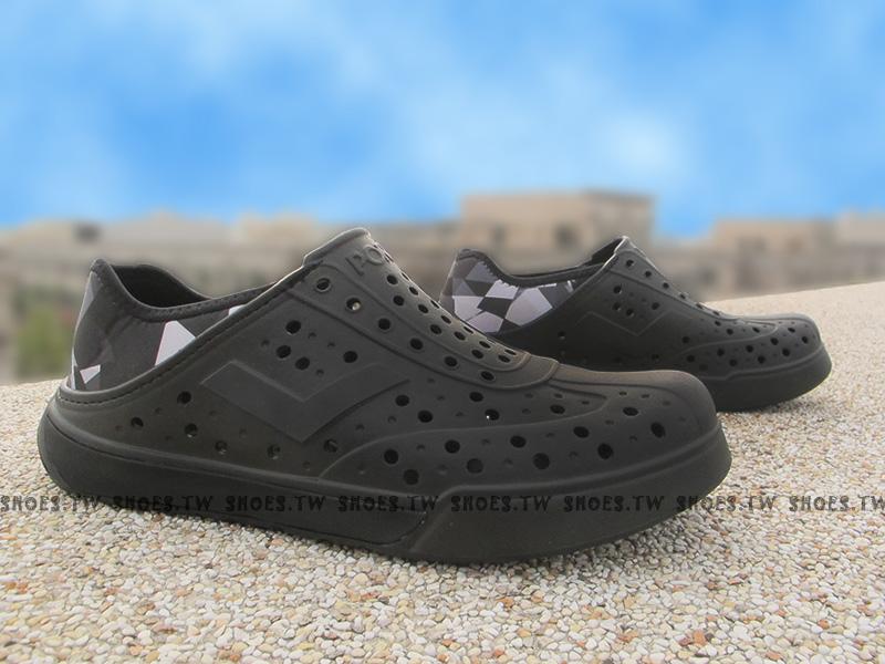 《限時特價79折》Shoestw【62U1SA69BK】PONY 洞洞鞋 可踩跟 新款 懶人拖 全黑 菱格 男女都有
