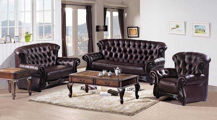 【尚品傢俱】HY-A223-06 艾德法式咖啡色皮沙發(1人座)