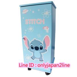 【真愛日本】16100500001拉門三層滾輪櫃-ST飛碟藍    迪士尼 星際寶貝 史迪奇   櫃子 鞋櫃 衣櫃