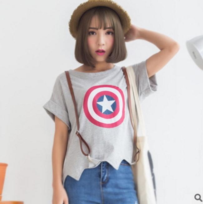50%OFF【S011295C】夏季新款韓版時尚日韓女裝美國隊長百搭寬鬆卷邊短袖T恤女